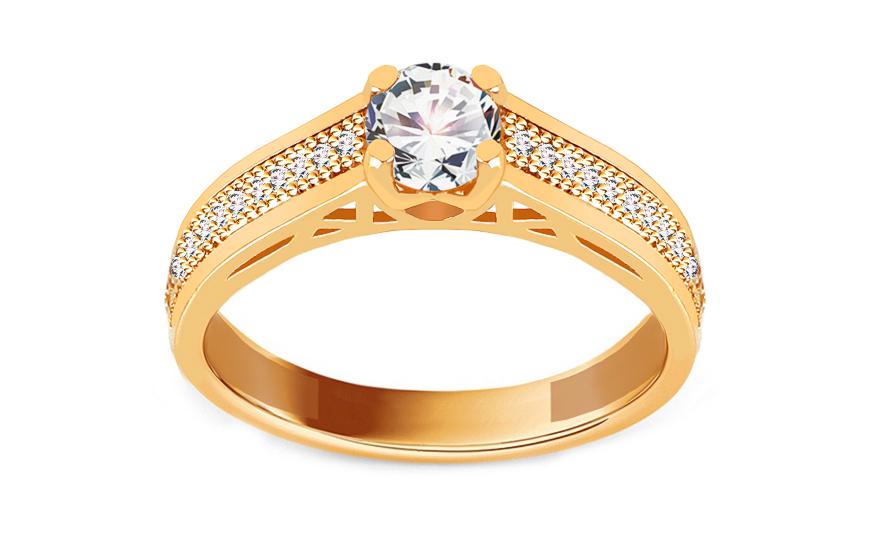 a0a8d9c12 Zlatý zásnubní prsten se zirkony, pro ženy (IZ19074) | iZlato24.cz