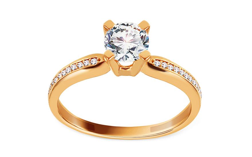 Zlatý zásnubní prsten se zirkony Caress IZ13185