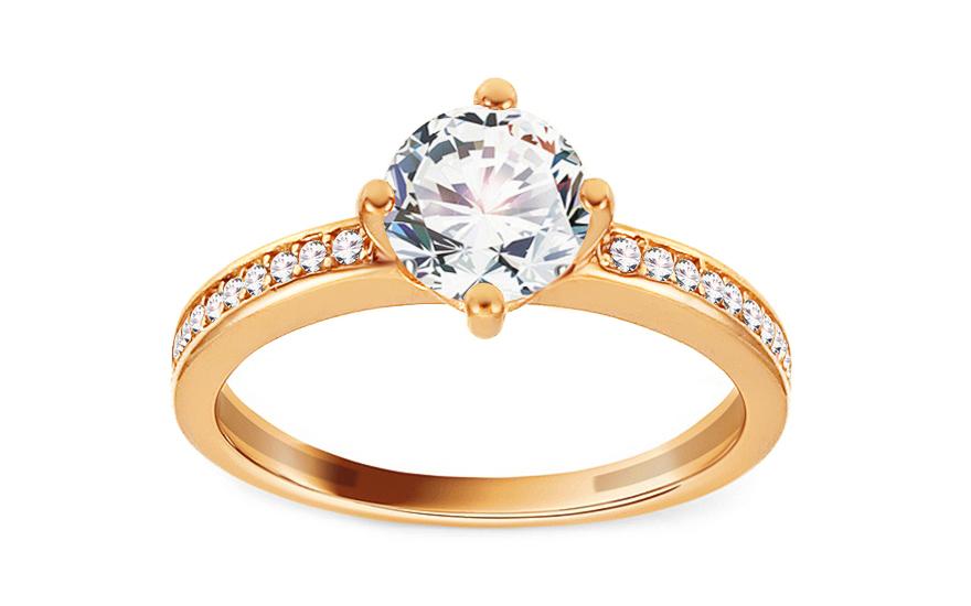 Zlatý zásnubní prsten se zirkony Cyrea IZ13288
