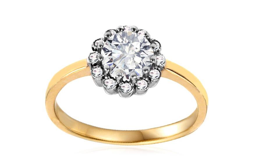Zlatý zásnubní prsten se zirkony Dulce IZ10634