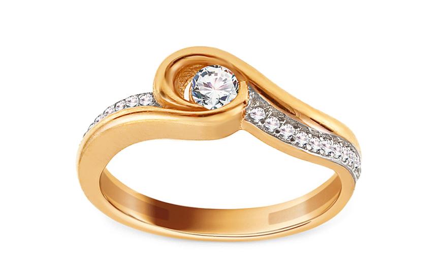 Zlatý zásnubní prsten se zirkony Fainche IZ13752