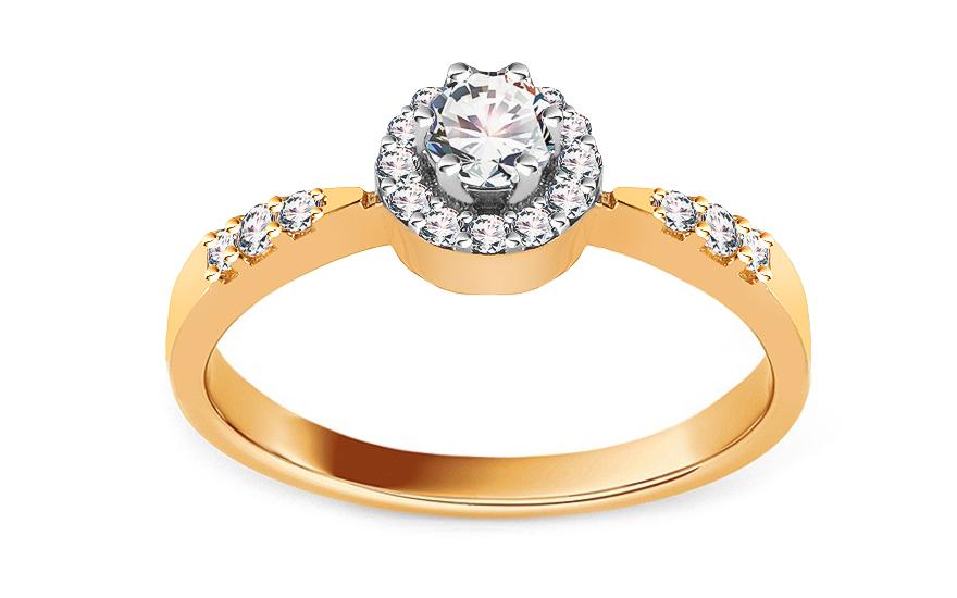 Zlatý zásnubní prsten se zirkony Haliey IZ13773