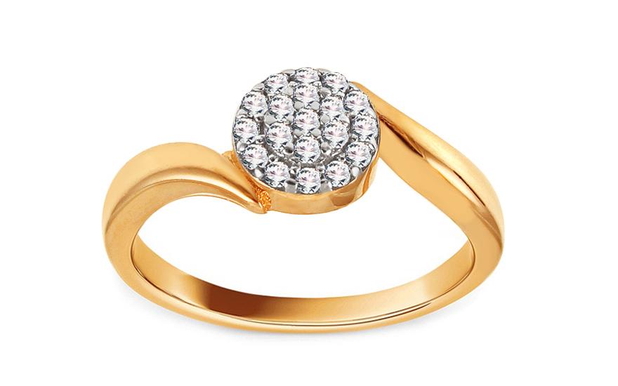 Zlatý zásnubní prsten se zirkony Janisa IZ13770