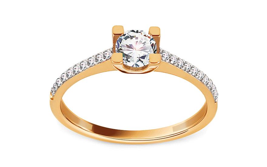 Zlatý zásnubní prsten se zirkony Jodie IZ13672