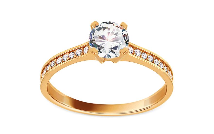 Zlatý zásnubní prsten se zirkony Kerstin IZ13694