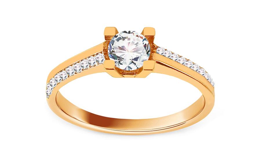Zlatý zásnubní prsten se zirkony Ladya IZ13657