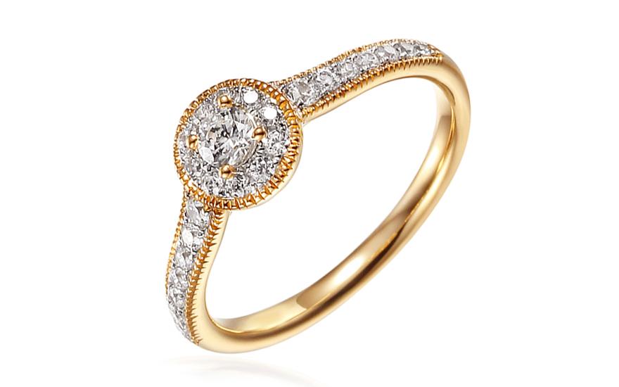 Zlatý zásnubní prsten se zirkony Luvenia IZZR013