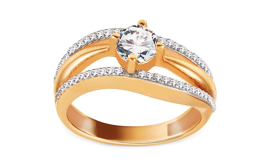 Zlatý zásnubní prsten se zirkony Mandy IZ13764