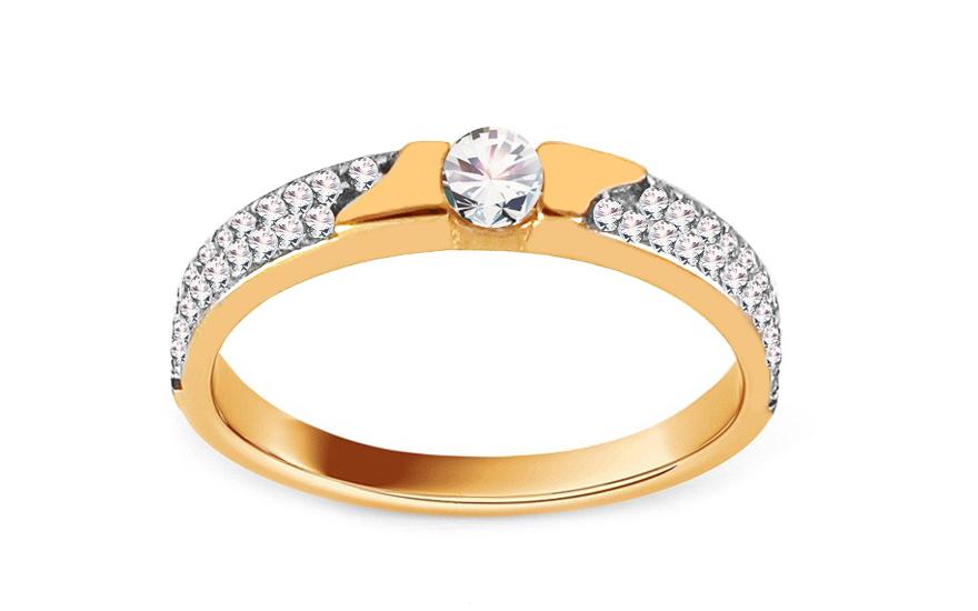 Zlatý zásnubní prsten se zirkony Marielle IZ13758
