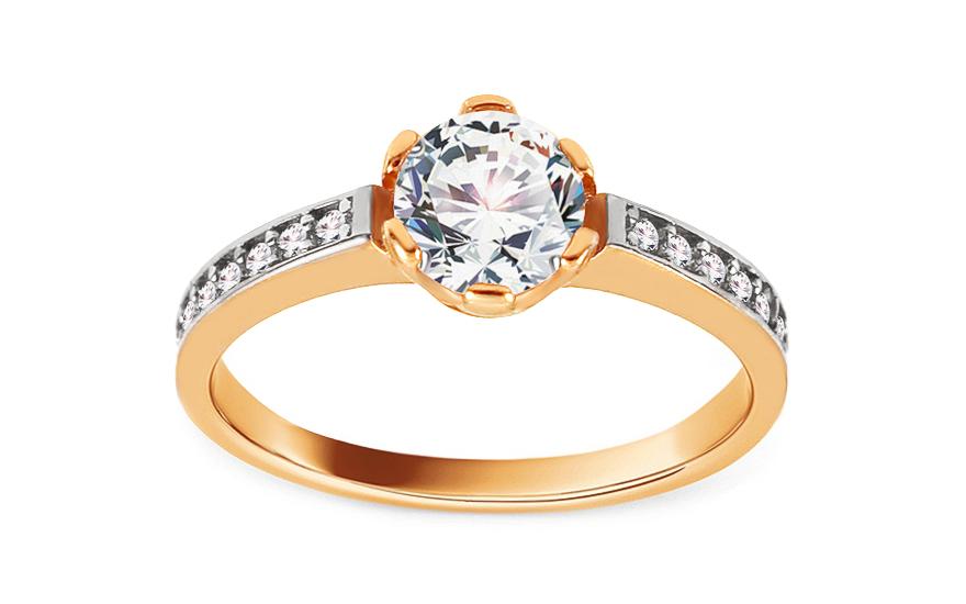 Zlatý zásnubní prsten se zirkony Maurina IZ13739