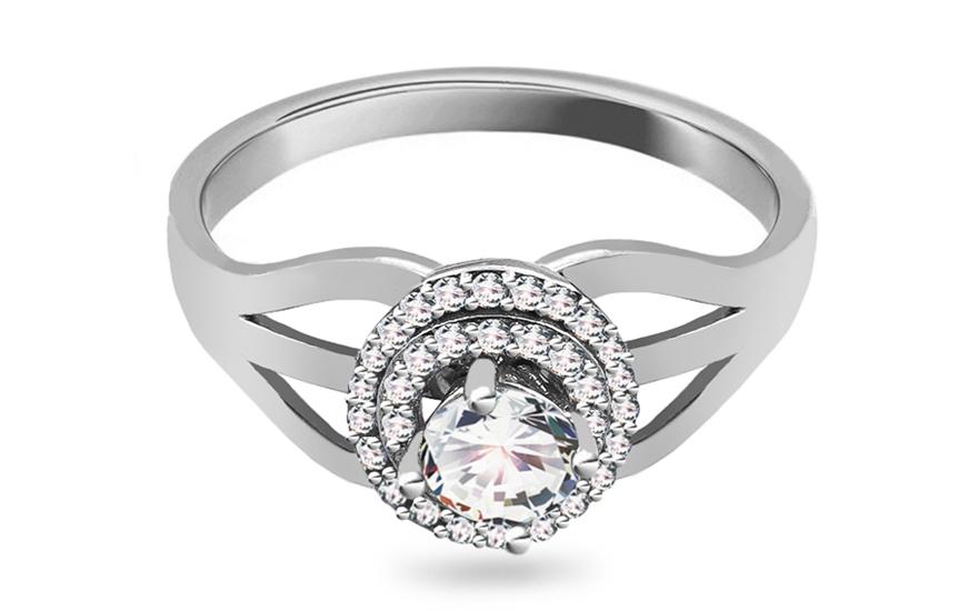 Zlatý zásnubní prsten se zirkony Meira KORI254