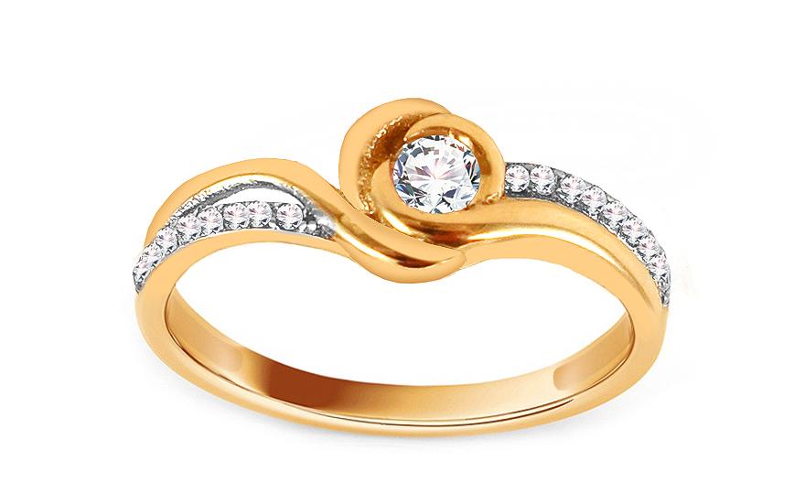 Zlatý zásnubní prsten se zirkony Mirla IZ13750