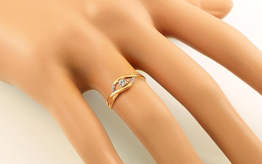 Zlatý zásnubní prsten se zirkony Nynette IZ13779