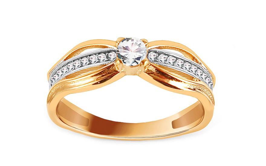 Zlatý zásnubní prsten se zirkony Pieretta IZ13782