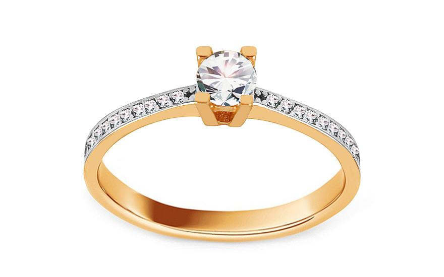 Zlatý zásnubní prsten se zirkony Thalia IZ13688
