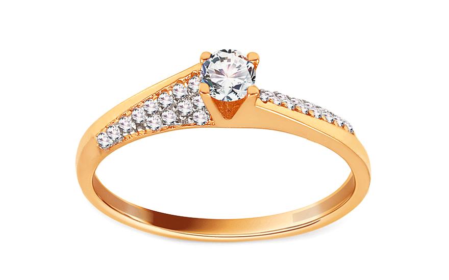 Zlatý zásnubní prsten se zirkony Wilona IZ13691