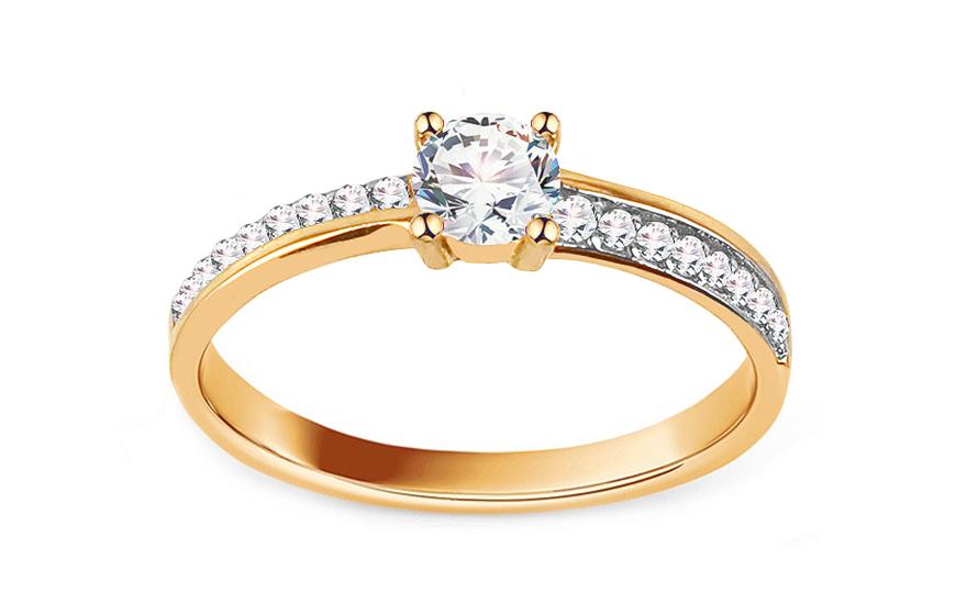 Zlatý zásnubní prsten se zirkony Zanna IZ13658