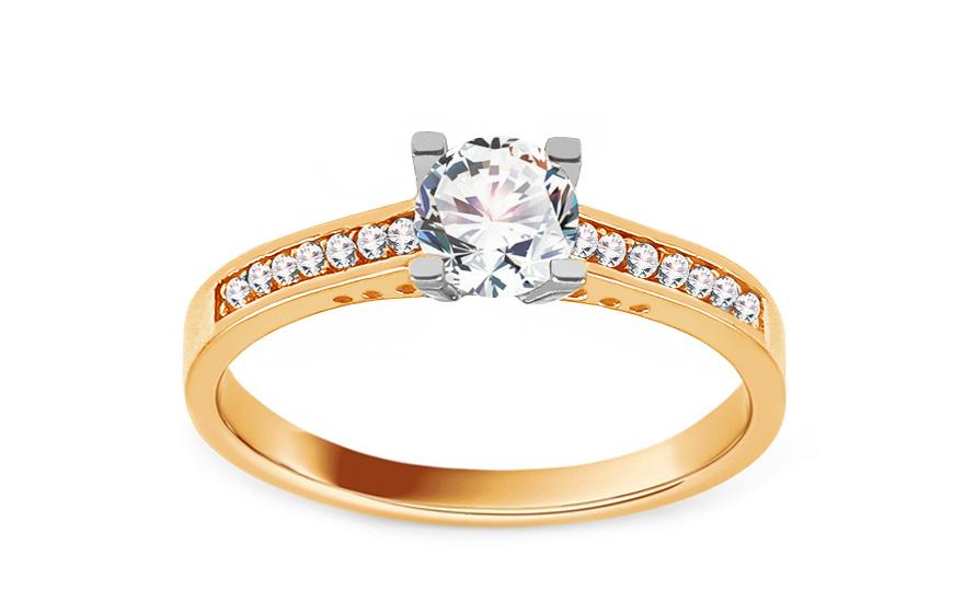 Zlatý zásnubní prsten se zirkony Zeanes IZ13684